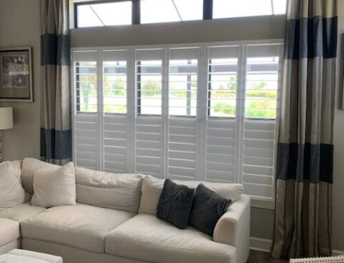 "Plantation shutters with 4 1/2 "" vanes with hidden tilt rods."